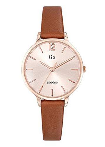 Go Girl Only - Reloj para mujer, piel marrón, esfera dorada rosa