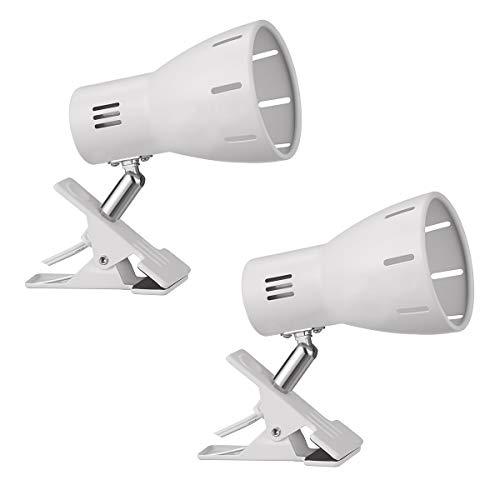 クリップライトE26口金 回転可能便利ディスプレイライト ベッドサイドテーブルお部屋寝室店舗テスクでの照明に適用 中間スイッチで入切可能 コード長さ1.5MLED電球専用器具 ラック(電球付属しておりません)(白-2個入)