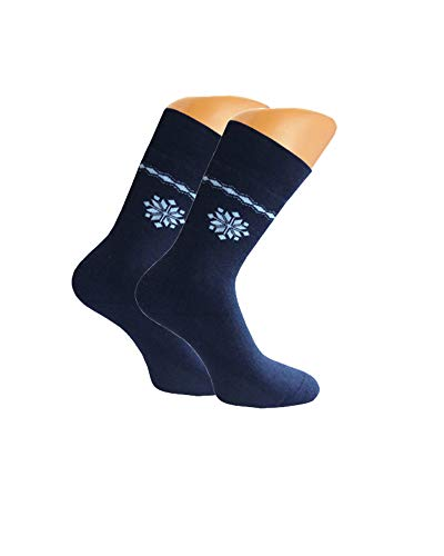 Good Deal Market Lot de 3 paires de chaussettes thermiques en éponge pour femme Taille 35/38/39/42 - Bleu - taille unique