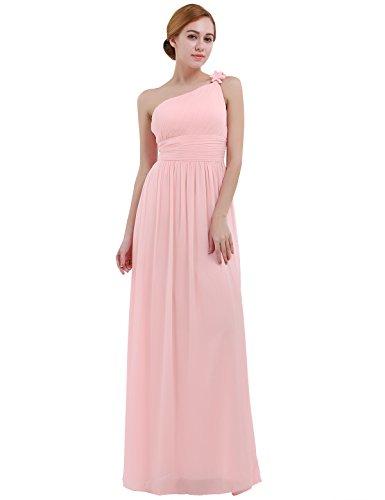 iiniim Vestido Largo Mujer Elegante para Noche Fiesta Cóctel Boda Ceremonia Dama de Honor Vestido de Noche Un Hombro Falda Espalada Descubirta Sin Manga Rosa Perla 44