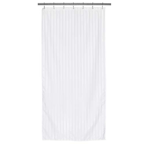 Waterproof Fabric Shower Curtain or Liner 36 inch Width Narrow Stall Size, Machine Washable, Weighted Bottom, Hotel Style with White Damask Striped, 36x72