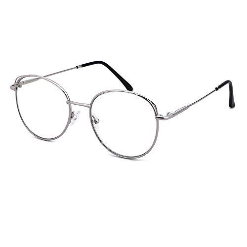O-Q CLUB Blaulichtfilter Brille Anti Blaulicht Brillen Ohne Stärke Blue Light Glasses Clear Rund Computerbrille für Damen Herren Blockieren Blaue Licht PC, TV und Handy Katzenauge, UV Schutz (Silber)