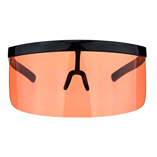 Mask Visor Welder Style Oversize Shield Flat Top Sunglasses Black Orange. Buy it now for 17.95