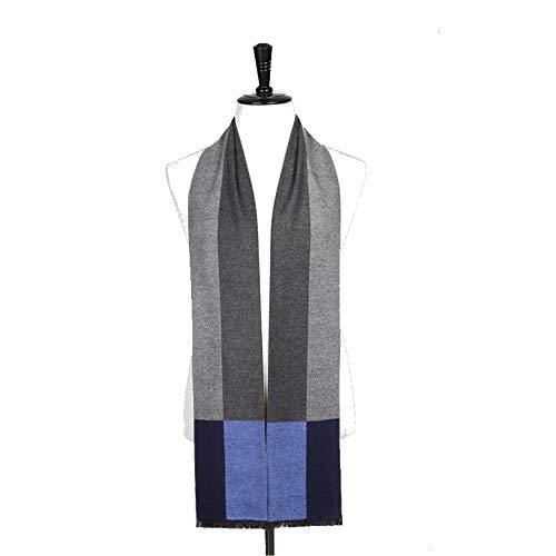 Geruiqi Heren sjaal blauw sprei voor de winter, kleur matching voor mannen zoals kasjmier sjaal met jeugd bib mannelijk geschenkdoos comfortabel voor mannen