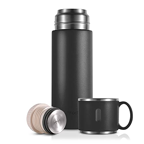 Thermoses Cup Coffee Bottle Stainless Steel Thermos with Leakproof Build-in Lid 420ml/14.2oz Vacuum Insulated Travel Mug Water Bottle Keep Drinks Hot or Cold (Black)