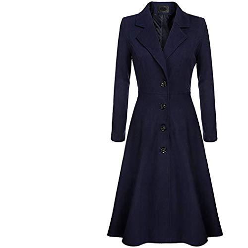 HANMAX Damen Wollmantel mit Reverskragen Knielang Wintermantel Einfarbig Tweed Mantel Frauen Elegante Wolle Mantel