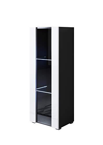 muebles bonitos Vitrina Modelo Luke V2 (40x128cm) Color Negro y Blanco con Patas estándar