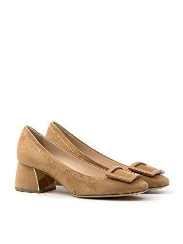 Roberto 8035 Abarty - Zapatos de tacón bajo de ante, color ámbar, talla Amarillo Size: 38 EU
