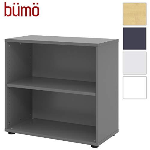 bümö® smart Aktenregal aus Holz   Büroregal für Aktenordner   Büro Regal System für Ordner   Bücherregal inkl. Einlegeböden (Graphit, Breite = 80 cm   2 Ordnerhöhen)