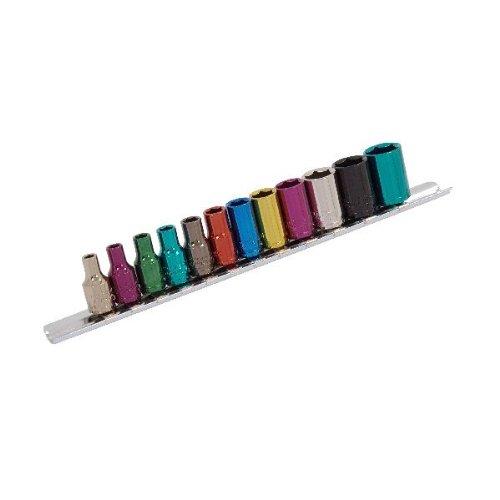 Sockets Peu Profonds 1/4 Po. Dur 12Pc Code Couleur 1 Paquet / S