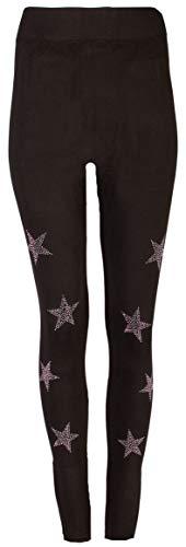 FASHION YOU WANT Damen Leggings/Jeggings Gr.34 bis 44 mit Spitze Nieten Steinchen Stern Totenkopf Perlen Leder High Waist Netz Spitzenleggings (Sterne schwarz, 34/36)