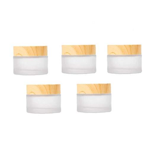 Canjerusof Envases cosméticos Crema Tarro Muestra Ollas cosmético compone de Cristal vacío Estaño Claro Redondo del Recorrido del almacenaje 5PCS
