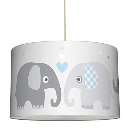 lovely label Hängelampe Elefanten BLAU/GRAU – Lampenschirm für Kinder/Baby, Schirm mit Elefanten – Komplette Hängeleuchte für Kinderzimmer Mädchen & Junge