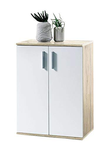 AVANTI TRENDSTORE - BEA - Comò e cassettiere, in Legno Laminato e Bianco, Disponibile in 2 Diversi Colori e 3 Diverse Dimensioni (Marrone-Bianco, 60x82x35 cm)