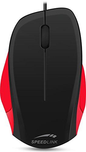 Speedlink Robuste 3-Tasten-Maus - LEDGY Mouse USB (Ergonomische Form für Rechtshänder - bis zu 900 DPI - Optischer Sensor) PC / Computer wired Mouse schwarz-rot