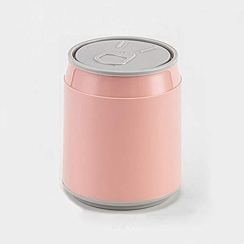 NYKK Küchenmülldosen Die Form des Can Kunststoff Kleine Tiny Büro Aufsatz- Garbage Can Aufsatz- Trash Can Poke öffnen Desktop Trash Can (Color : Pink)