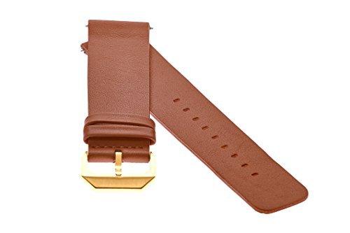 slow - Braunes Lederband mit goldenem Verschluss - 20mm Breite