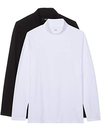 Amazon-Marke: find. Herren Slim Fit-T-Shirt mit V-Ausschnitt, 2er-Pack, Mehrfarbig (Black/ White), XL, Label: XL