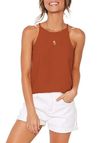 ZJCT Womens Summer Shirts Halter Sleeveless Racerback Tank Tops Beach High Neck Tee Shirts Spaghetti Strap Casual Tops Blouses Orange M
