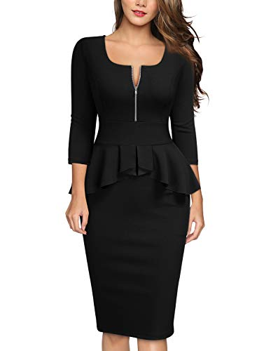 MIUSOL Damen Business Cocktailkleid Karree-Ausschnitt 3/4 Arm Reißverschluss Schößchen Kleid Schwarz XXL