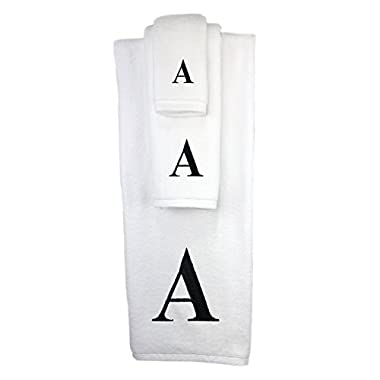 Luxury Hotel & Spa Monogrammed Towels 3-Piece Set, White, Extra Absorbent 100% Cotton, Black Embroidered Letter Initial, Bath Towel, Face Towel, Hand Towel (A)