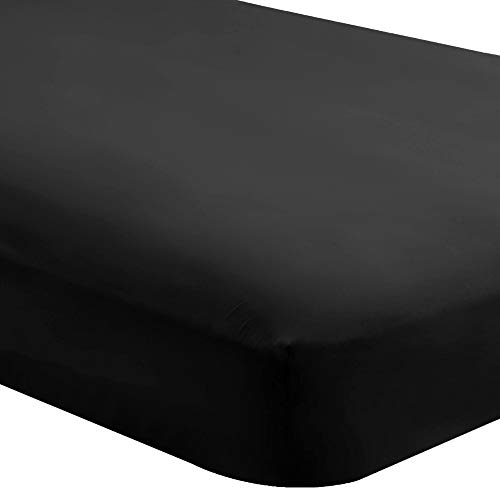Bare Home Fitted Bottom Sheet Queen - Premium 1800 Ultra-Soft Wrinkle Resistant Microfiber - Hypoallergenic - Deep Pocket (Queen, Black)