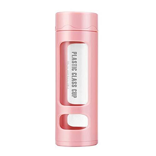 Waterfles, 400ml draagbare camping dubbele laag helder glas waterfles met thee Infuser roze