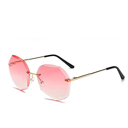 Tawny Gradient Gafas de Sol Señoras Océano Agua Corte de Agua Corte de Borde Lente Metal Gafas de Sol Rimas Rimas Corte Poligonal Personalidad Gafas de Sol UV400 622