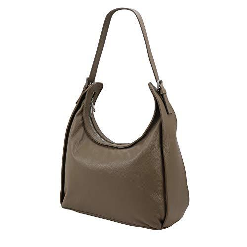 SH Leder Echtleder Schultertasche Schultertasche Handtasche aus Genarbte Leder 37x24cm Dora G679 (Schlamm)
