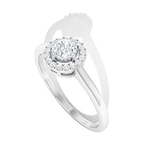 0,5 Karat Diamant IGI Certified Halo Ring, zierliche Frauen Arbeitskleidung Statement Ring, HI-SI Farbe Klarheit Diamant Solitär Versprechen Ring, Jahrestag Goldring, 14K Weißes Gold, Size:EU 47