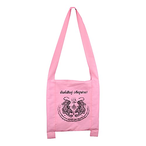 Thai buddha amulet boho hippie tote Limited crossbody bohemian good luck charms muay thai (White Twin Tiger - Pink)