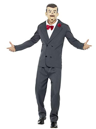 Karnevalsbud - Herren Männer Kostüm Slappy die Puppe Bauchredner mit Hose Jacke vorgetäuschtem Hemd mit Fliege und Maske, perfekt für Halloween Karneval und Fasching, M, Grau