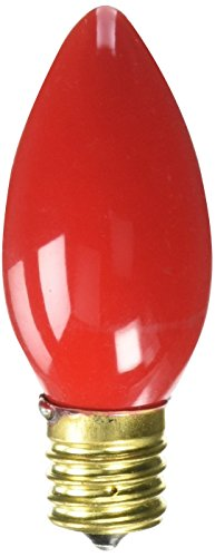 Bulbrite 7C9R 7W C9 Christmas Light, Ceramic Red