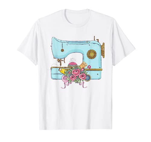 Floral Sewing Machine Quilting Seamstress Vintage Sewing T-Shirt