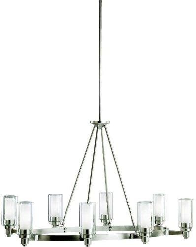 Kichler 2345NI, Circolo Glass 1 Tier Chandelier Lighting, 8 Light, 480 Watts Halogen, Brushed Nickel