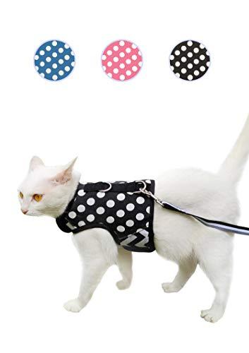 Yizhi Miaow Ausbruchsicheres Katzengeschirr mit Leine, mittelgroß, verstellbare Katzen-Wanderjacken, gepolsterte Katzen-Weste, gepunktet, schwarz