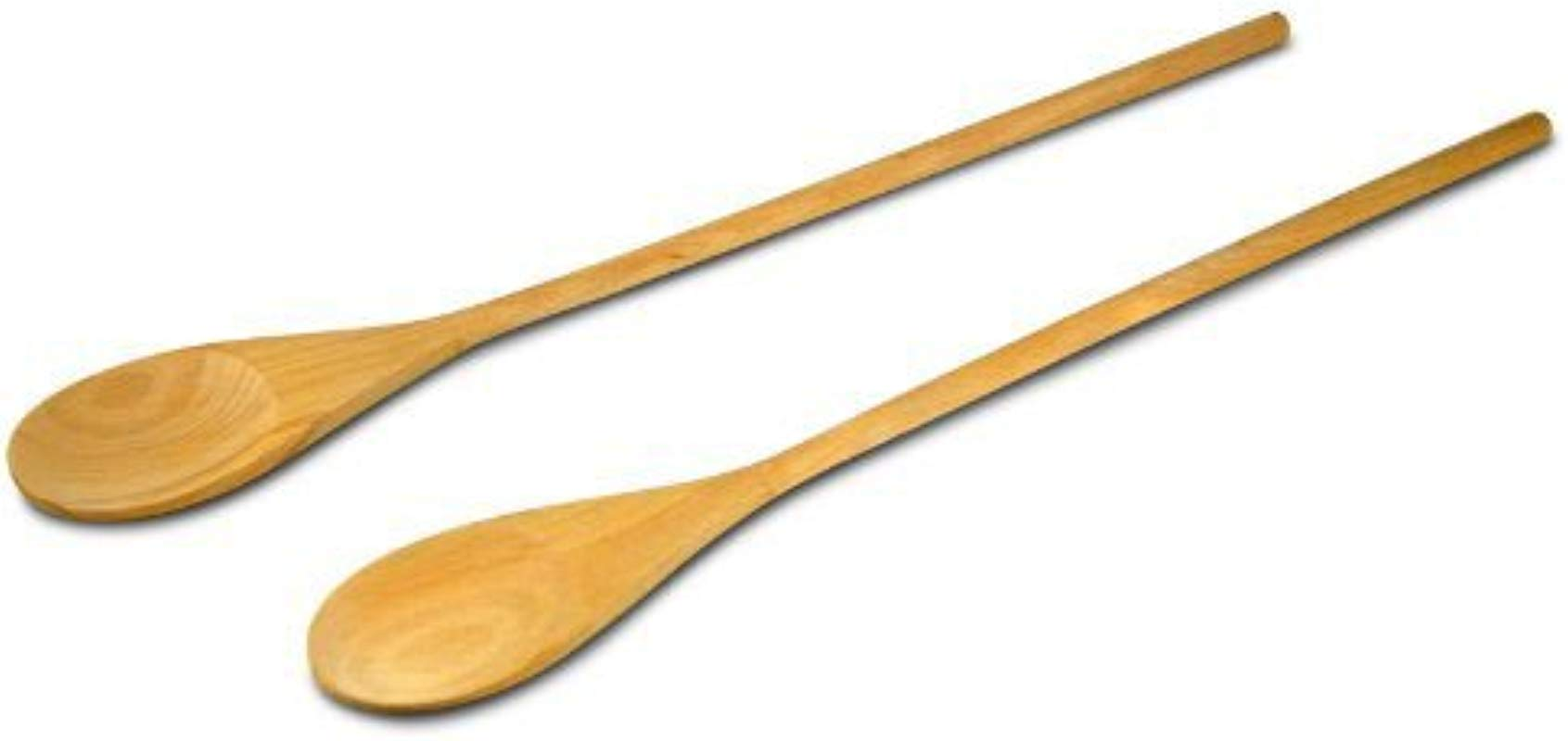 18 Inch Long Handle Wooden Cooking Mixing Spoon Birch Wood Set Of 2