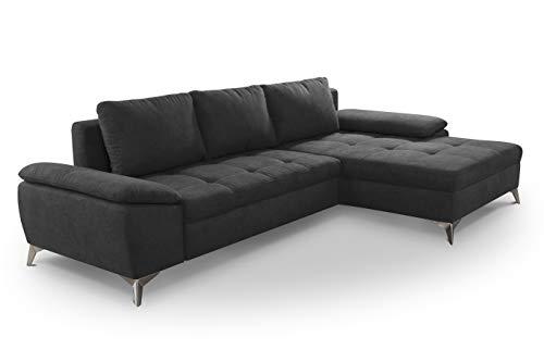 CAVADORE Schlafsofa Lina / Ecksofa mit Schlaffunktion, Bettkasten und Longchair / leichte Fleckentfernung dank Soft Clean / 270 x 85 x 163 / Dunkelgrau