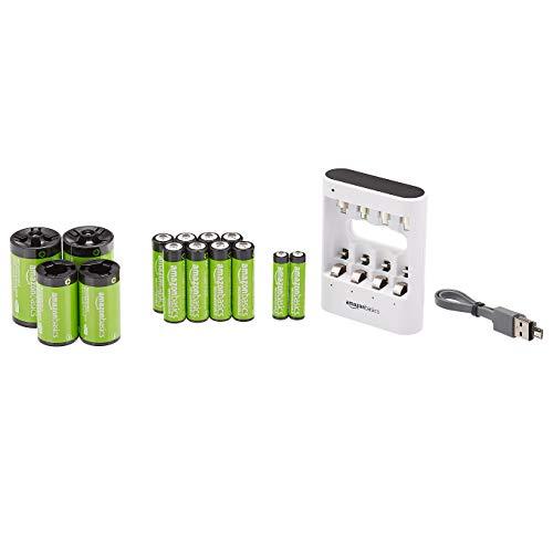 Amazon Basics – Akku-Set, Ladegerät mit USB-Anschluss, mit AA-Akkus (8Stück) und AAA-Akkus (2Stück), C-, D-kompatibel, Weiß