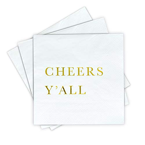Gold Cocktail Napkins - Cheers Y'all Party Napkins, Wedding Napkins, 3-Ply Disposable Paper Napkins for Wedding Reception, Engagement Party, Bridal Shower, Birthday - Gold Napkins by Sunshine Supply