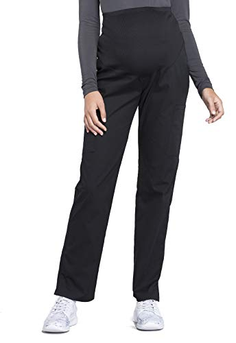 Cherokee Workwear Professionals Maternity Women Scrubs Pant Straight Leg WW220, M, Black