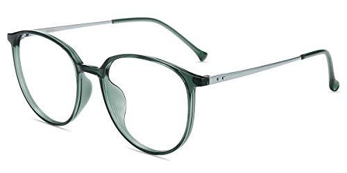 Firmoo Blaulichtfilter Brille Damen Rund Grün, Entspiegelte Anti Blaulicht Brille ohne Sehstärke für Herren, UV400 Blaulicht Schutzbrille für Bildschirme gegen Kopfschmerzen