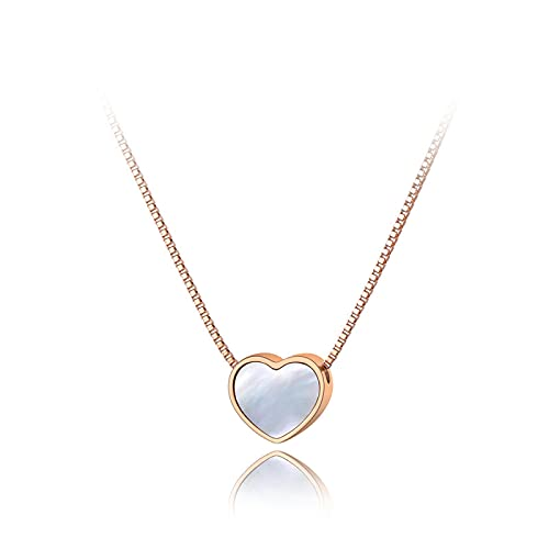 QDGERWGY Collares con Colgante de corazón de Concha Blanca para niñas, Collar de Gargantilla de Acero Inoxidable de Titanio y Oro Rosa, joyería