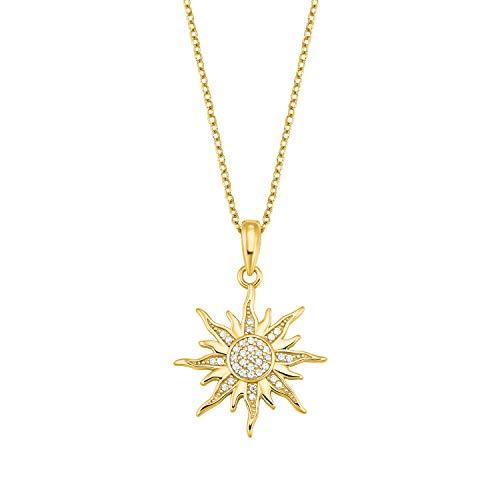 amor Kette mit Anhänger für Damen, Silber 925 vergoldet, Sonne