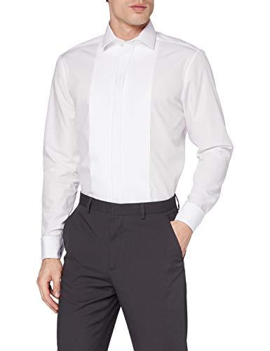 Seidensticker Herren Modern Langarm mit Kent-Kragen Umschlagmanschette bügelfrei Smokinghemd, Weiß (Weiß 1), 43