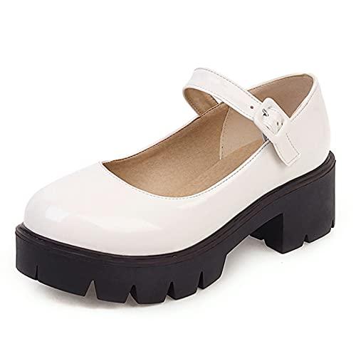 VOMIRA Zapatos de tacón grueso Mary Janes con plataforma para mujer, con correa al tobillo, cuñas, Lolita Halloween Cosplay, (5 blanco), 37 EU