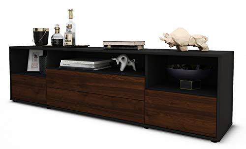 Stil.Zeit TV Schrank Lowboard Azula, Korpus in anthrazit matt/Front im Holz-Design Walnuss (180x49x35cm), mit Push-to-Open Technik und hochwertigen Leichtlaufschienen, Made in Germany