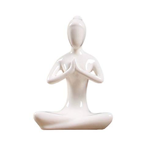 Ballylelly 12 estilos figuras de yoga de cerámica blanca esmalte miniaturas de yoga estatuas abstractas de yogur figuras de yoj decoración del hogar vintage