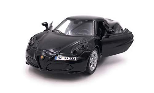 Onwomania 4c Sportwagen Modellauto mit Wunschkennzeichen Auto in schwarz Maßstab 1:34 (lizensiert)