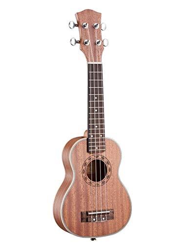 JiaLG 21 Pulgadas Ukulele Soprano Principiante Ukelele Guitarra de Caoba Cuello Delicado Tuning Peg 4 Cuerdas Madera Ukulele